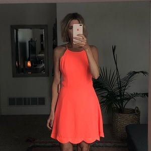 Altar'd State Neon Coral mini dress open back -m
